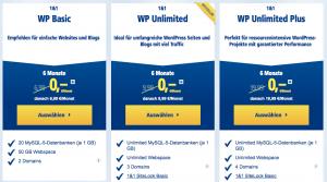 1&1 Webhosting Pakete im Vergleich