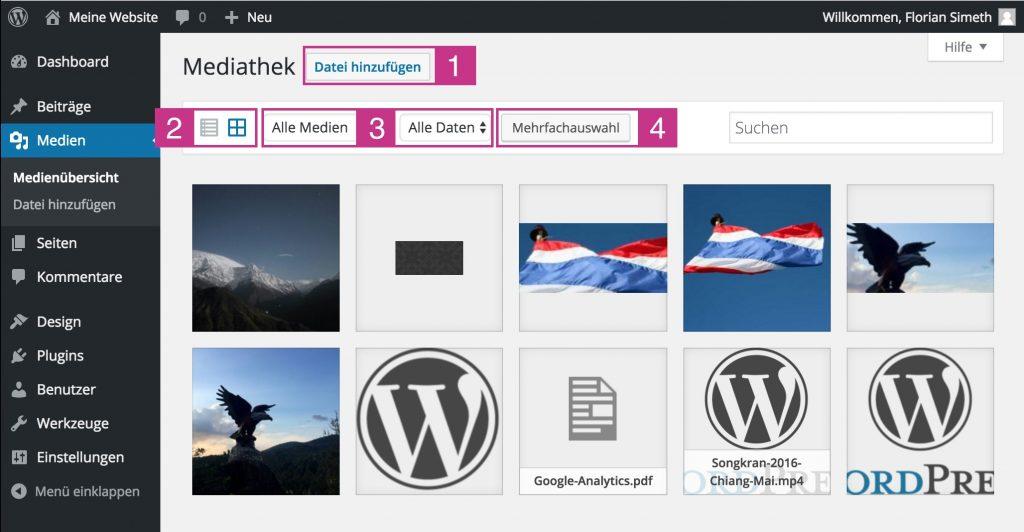 WordPress Medienübersicht